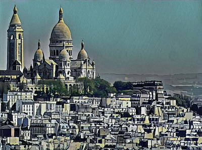 Sacre Coeur Painting - Sacred Heart Basilica by Russ Harris