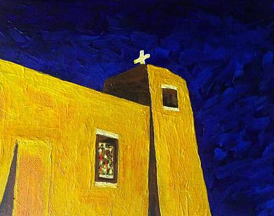 Painting - Sacred Heart Nambe Nm By Moonlight by Brenda Pressnall