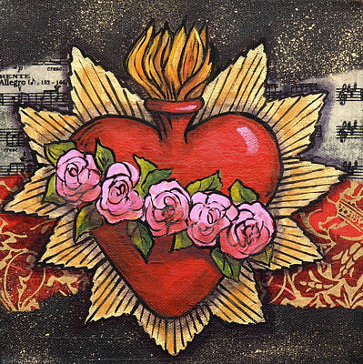 Rose. Collage Painting - Sacred Heart No. 1 by Candy Mayer