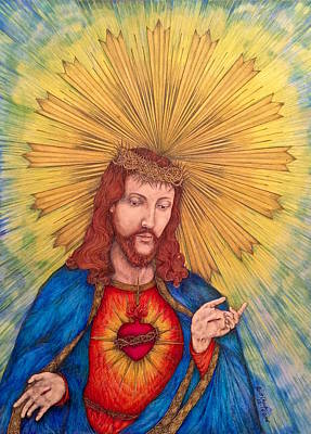 Sacred Heart Of Jesus Christ Hand-drawn Original