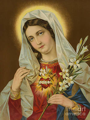 White Flowers Painting - Sacred Heart Of The Virgin Mary by European School