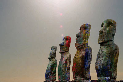 Digital Art - Sacred Places - Easter Island Rapa Nui Moai Figures by Serge Averbukh