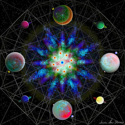Digital Art - Sacred Planetary Geometry - Blue Atom Dark by Iowan Stone-Flowers