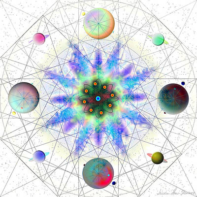 Digital Art - Sacred Planetary Geometry - Blue Atom Light by Iowan Stone-Flowers
