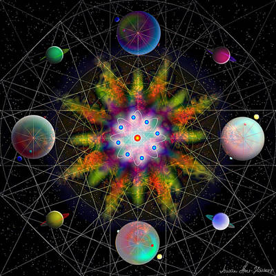 Sacred Planetary Geometry - Dark Red Atom Art Print