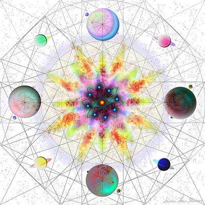 Digital Art - Sacred Planetary Geometry - Red Atom Light by Iowan Stone-Flowers