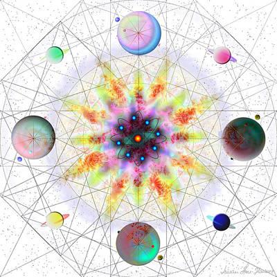 Digital Art - Sacred Planetary Geometry - Red Atom Light by Iowan Stone-Flowers