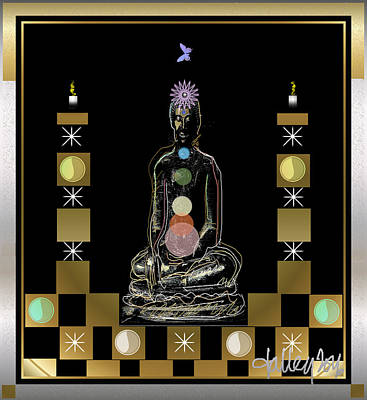Digital Art - Sacred Space - Chakra Buddha by Larry Talley