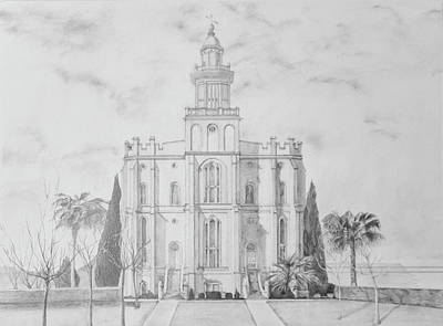 Drawing - Sacred Steps - St. George Temple by Nila Jane Autry