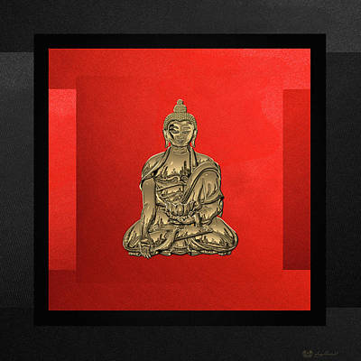 Digital Art - Sacred Symbols - Gold Buddha On Black And Red  by Serge Averbukh