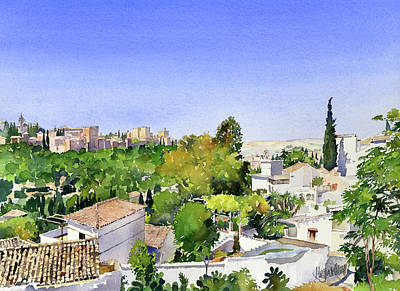 Painting - Sacromonte And The Alhambra Granada by Margaret Merry
