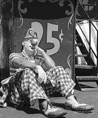 Sad Clown Photograph - Sad Clown Leaning On Circus Booth by H. Armstrong Roberts/ClassicStock
