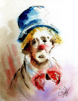 Painting - Sad Clown by Steven Ponsford
