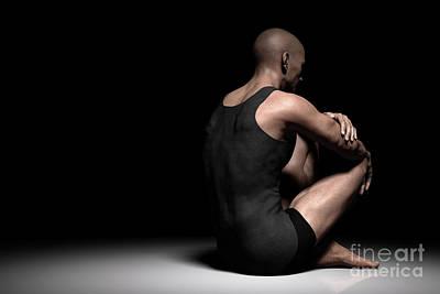 Photograph - Sad, Depressed Man Sitting Alone On Floor In Dark Spotlight. Depression, Pain, Loss Concepts by Michal Bednarek