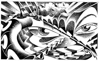 Stickers Drawing - Sad Eyes Remember The Future by Ciro Pignalosa
