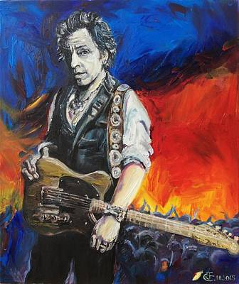 Bruce Springsteen Art Painting - Sad Eyes - The Boss  by Jerome C Des Airs D Arts