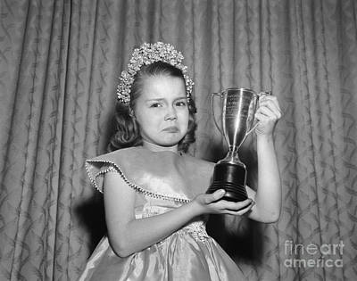 Sad Girl With Second Place Trophy Art Print by Debrocke/ClassicStock