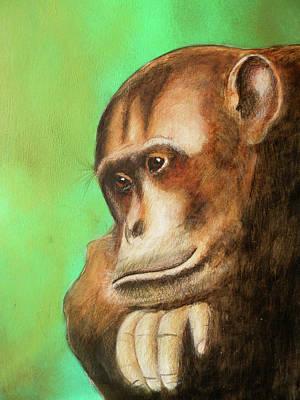Gorilla Painting - Sad Gorilla by Vagelis Karathanasis