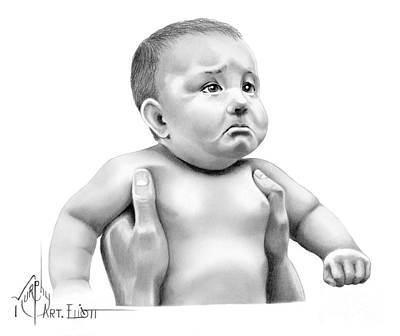 Drawing - Sad Little Pucker by Murphy Elliott
