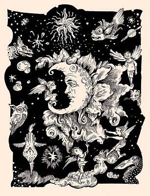 Man In The Moon Mixed Media - Sad Moon by Theresa Taylor Bayer