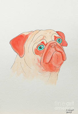 Painting - Sad Orange Pug by Stefanie Forck