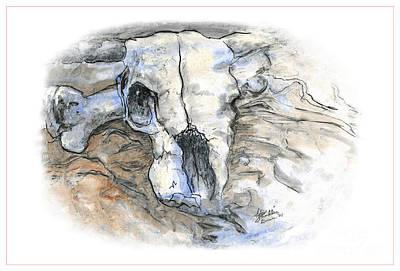 Cow Skull Painting - Sad Skull by Ida Brown