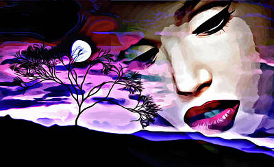 Mixed Media - Sad Woman Abstract Landscape Surreal Art by Elizavella Bowers