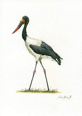 Bills Wall Art - Painting - Saddle Billed Stork by Juan Bosco