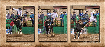 Tryptych Photograph - Saddle Bronc 1 Rider 0 by Priscilla Burgers