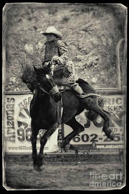 Working Cowboy Photograph - Saddle Bronc Riding In Wickenburg Arizona by Priscilla Burgers