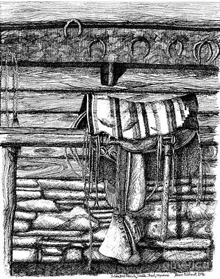 Old Barn Drawing - Saddle In Old Barn, Ready To Ride by Dawn Boyer