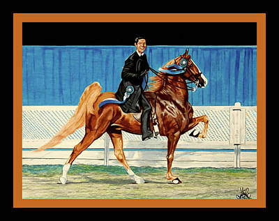 Drawing - Saddlebred Bustin Out With David Blevins Up by Cheryl Poland
