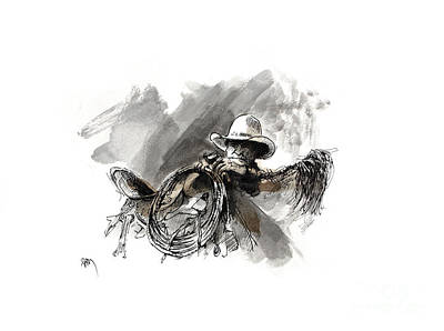 Working Cowboy Drawing - Saddling Cowhorse by Paul Miller