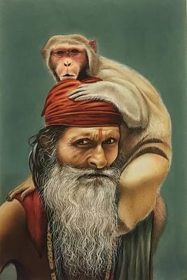 Sadhu Painting - Sadhu And A Monkey by Ankit