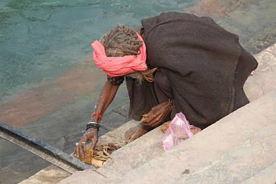 Photograph - Sadhu Building A Puja, Haridwar by Jennifer Mazzucco