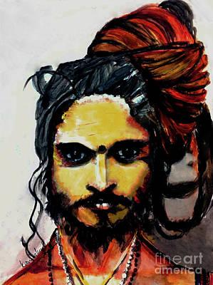 Sadhu Painting - Sadhu, Holy Man Of India, Hermit, Sage by Kanika