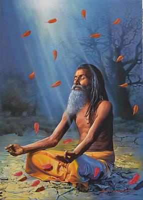 Sadhu Meditating Original by Kamal  Rao