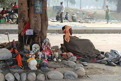 Sadhu Resting Under His Tree Temple, Haridwar Art Print by Jennifer Mazzucco