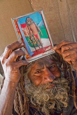 India Babas Photograph - Sadhu With Picture II by John Battaglino