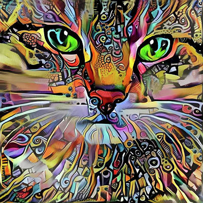 Digital Art - Sadie The Colorful Abstract Cat by Peggy Collins