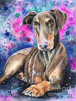 Doberman Pinscher Wall Art - Painting - Sadie by Zaira Dzhaubaeva