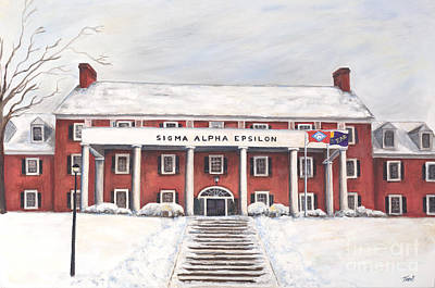 University Of Arkansas Painting - Sae Fraternity House At Uofa by Tansill Stough