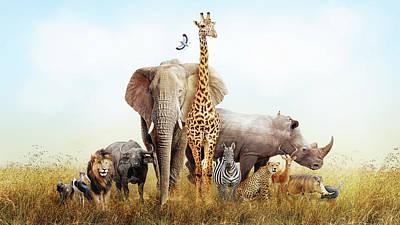 Stork Photograph - Safari Animals In Africa Composite by Susan Schmitz