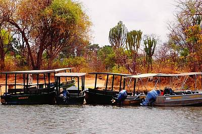 Photograph - Safari Boats In Malawi 02 by Dora Hathazi Mendes