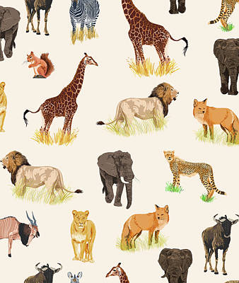 Digital Art - Safari Sightings by Uma Gokhale
