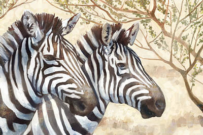 Zebra Art Painting - Safari Sunrise by Mauro DeVereaux