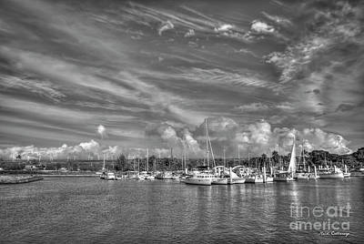 Photograph - Safe Harbor B W Haleiwa Small Boat Harbor Hawaii Collection Art by Reid Callaway