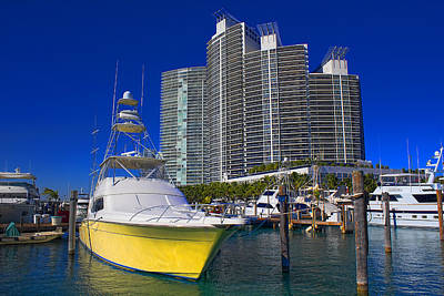 Photograph - Yellow Yacht - Safe Harbor Series 32 by Carlos Diaz
