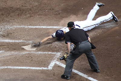 Home Plate Photograph - Safe by Lauri Novak