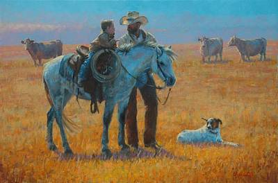 Cattle Dog Painting - Sage Advice by Jim Clements